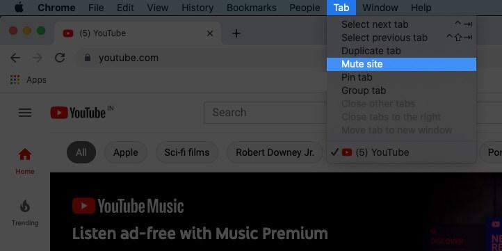 mute tab in chrome on mac