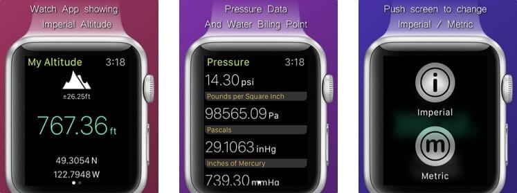 My Altitude Apple Watch Altimeter App Screenshot