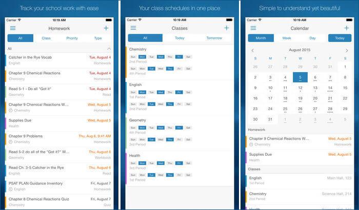 myHomework Student Planner iPhone and iPad App Screenshot
