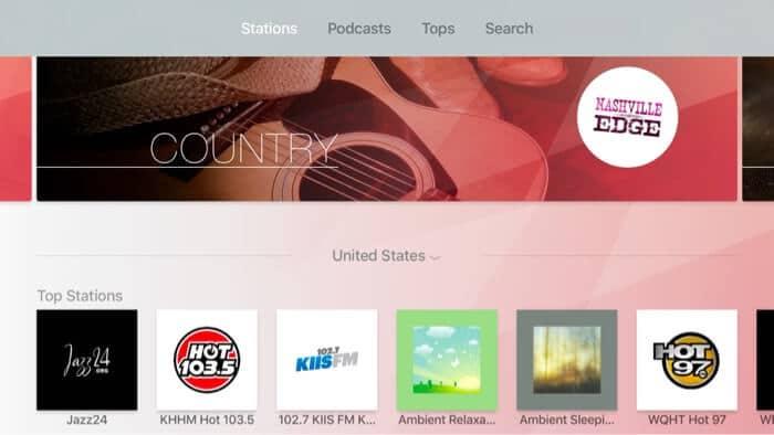 myTuner Apple TV Radio App Screenshot