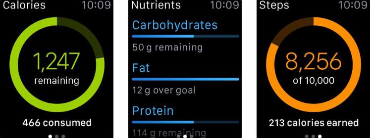myfitnesspal apple watch health app screenshot