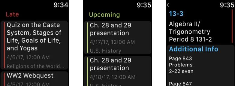 MyHomework Student Planner Apple Watch App Screenshot