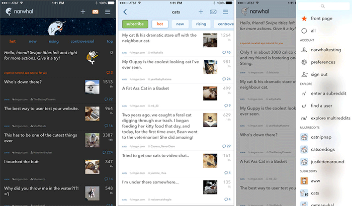 narwhal for reddit iPhone and iPad App Screenshot