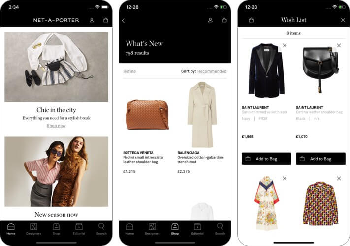 net-a-porter: designer clothes iphone and ipad fashion app screenshot