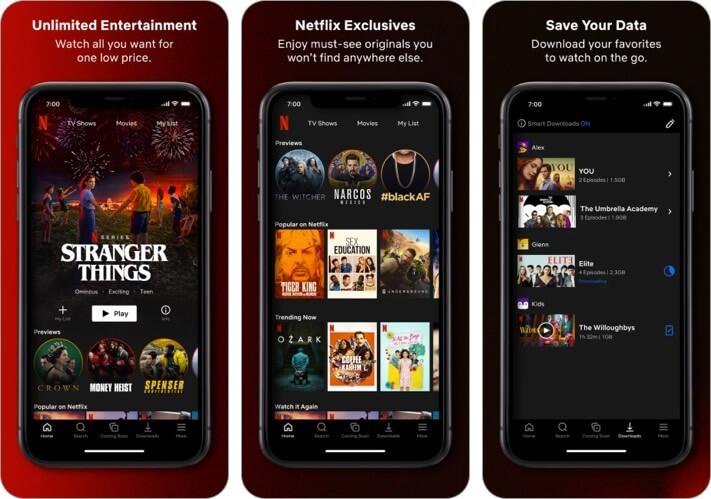 Netflix iPhone and iPad Entertainment App Screenshot