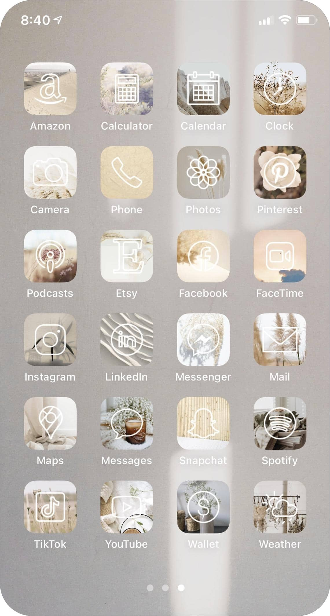 neutral-toned app icons pack for iphone and ipad