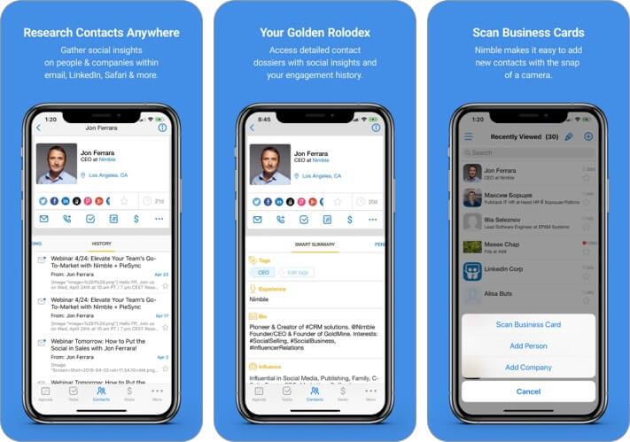 Nimble iPhone and iPad CRM App Screenshot