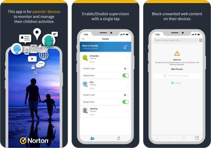 Norton Family for Parents iPhone and iPad App Screenshot