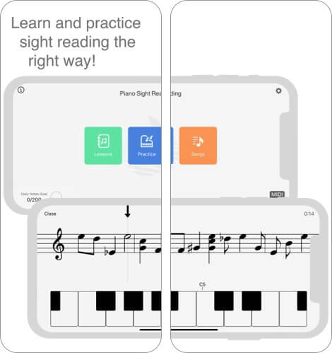 notes sight reading music learning app screenshot
