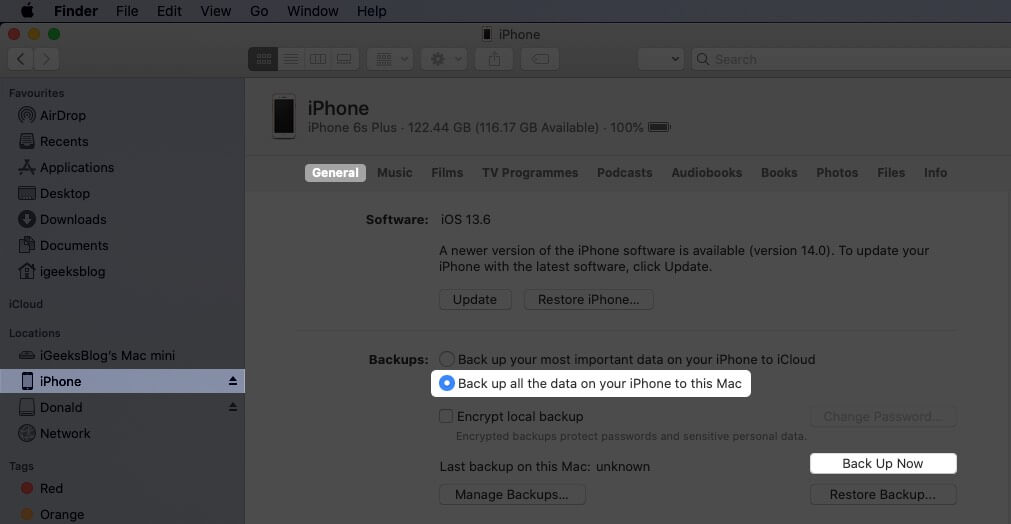 Now Connect your iPhone with Mac and Click on Back Up Now Button