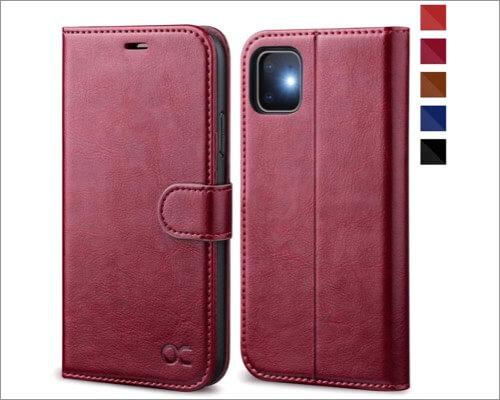 ocase leather folio case for iphone 11