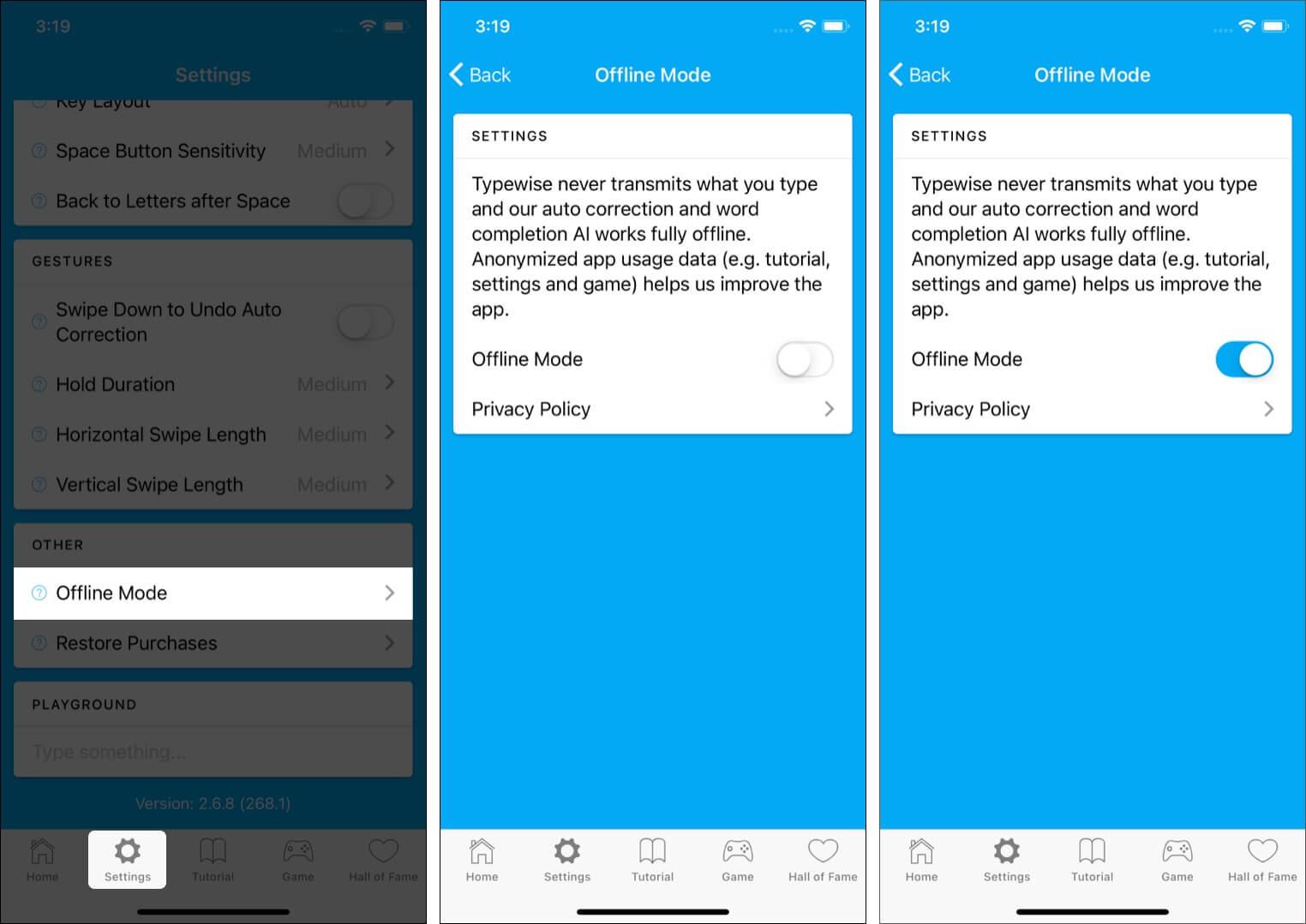 Offline Mode in Typewise keyboard app
