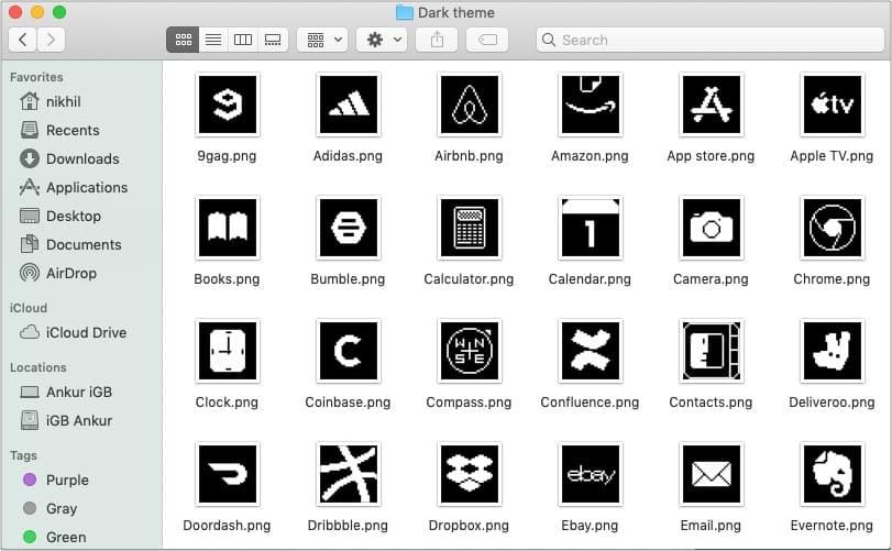 Old School iOS 14 dark app icons