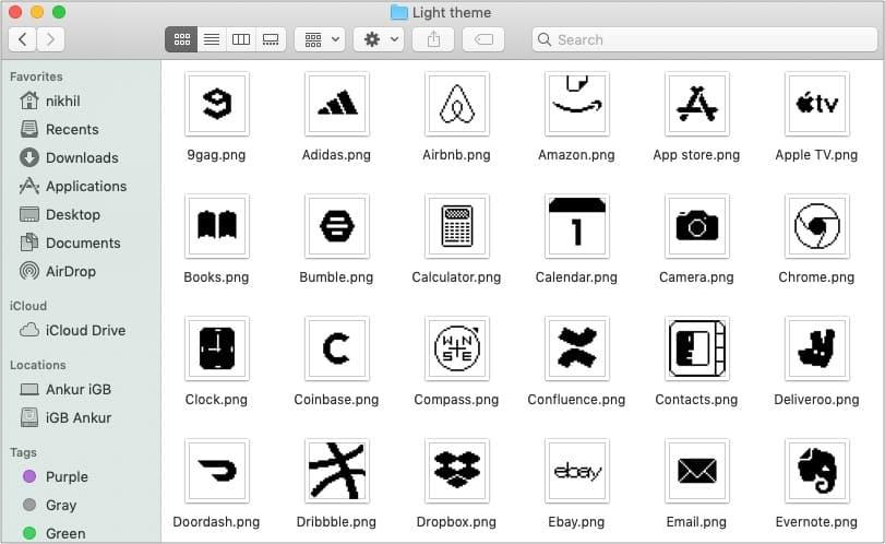 Old School iOS 14 light app icons