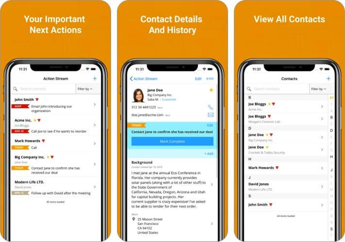 OnePageCRM iPhone and iPad App Screenshot