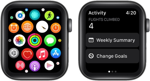 Open Activity app on Apple Watch and tap Change Goals