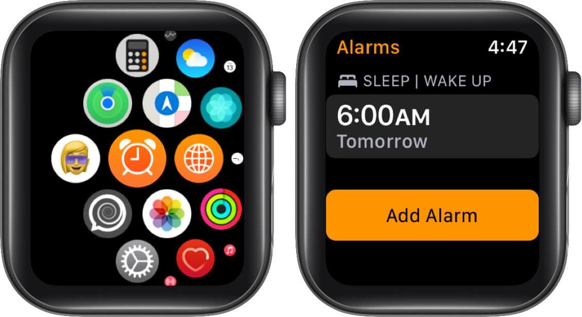 Open Alarm app and Tap on Add Alarm on Apple