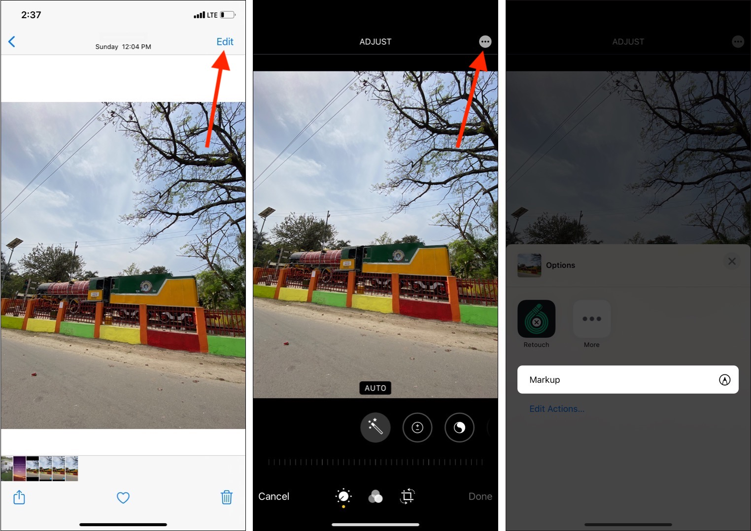 Open an image tap Edit then three dots icon and tap Markup