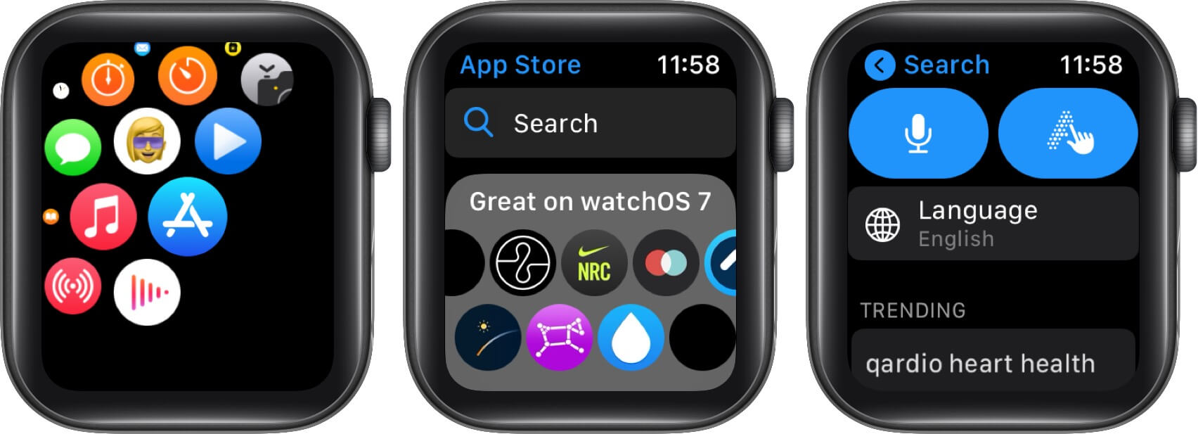 Open App Store tap Search and use Voice or Scribble on Apple Watch