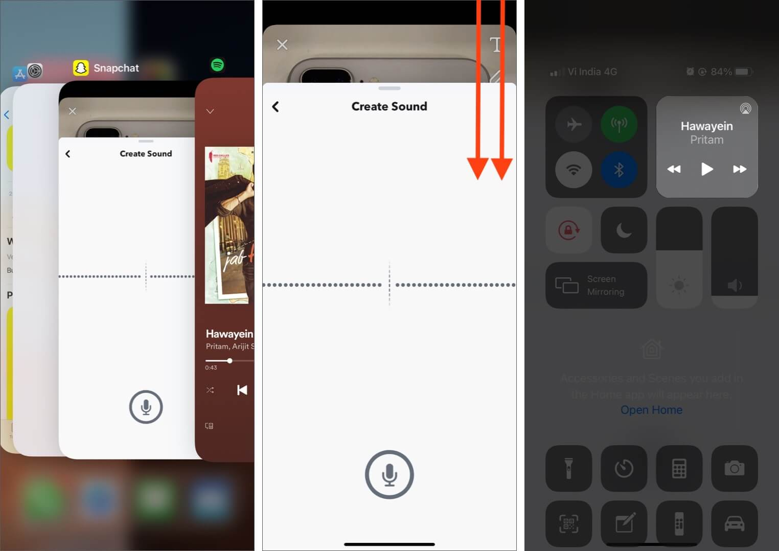 Open App Switcher Tap on Snapchat and Then Open Control Center to Play Music on iPhone