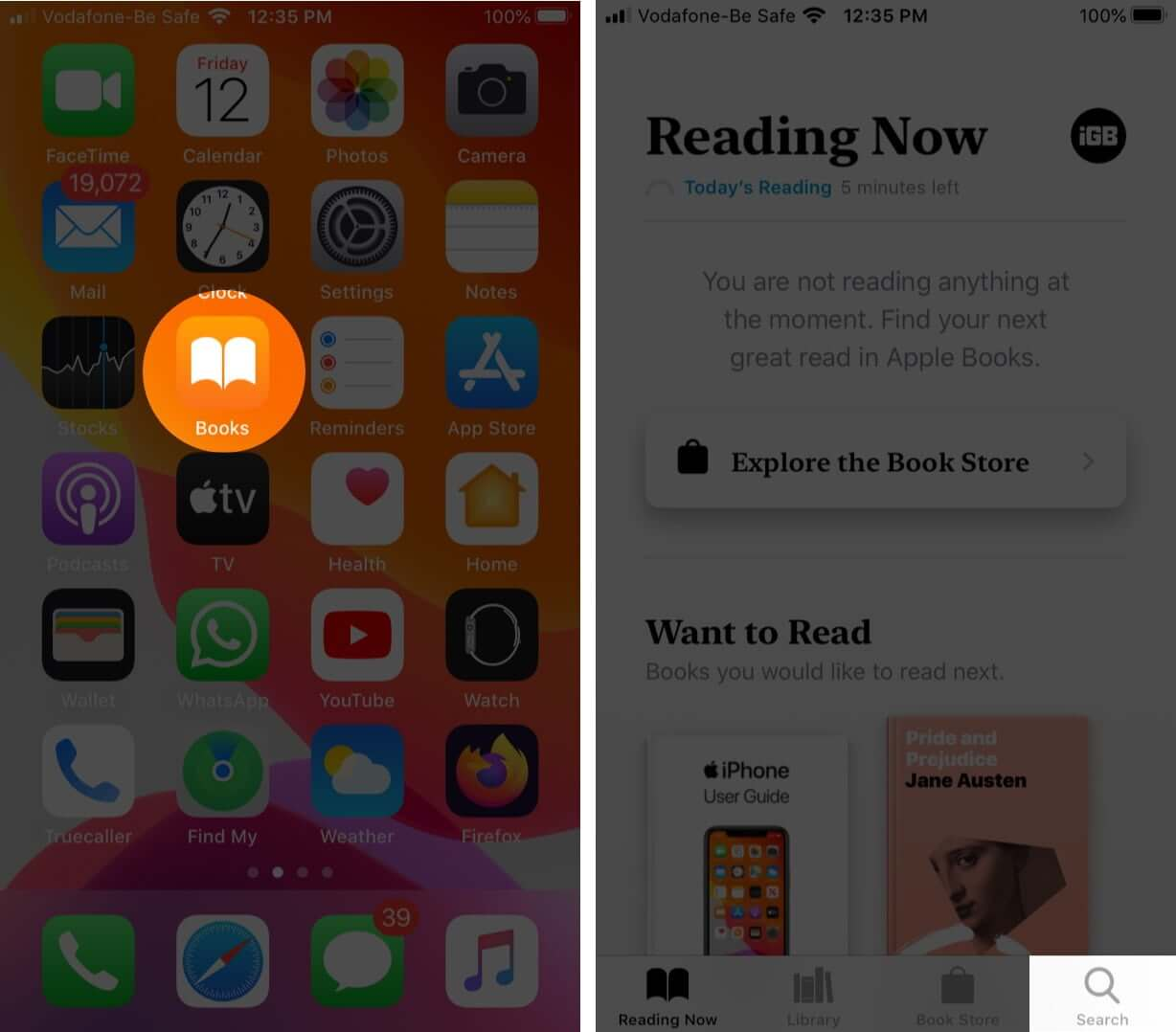 open books app and tap on search from bottom of the screen on iphone
