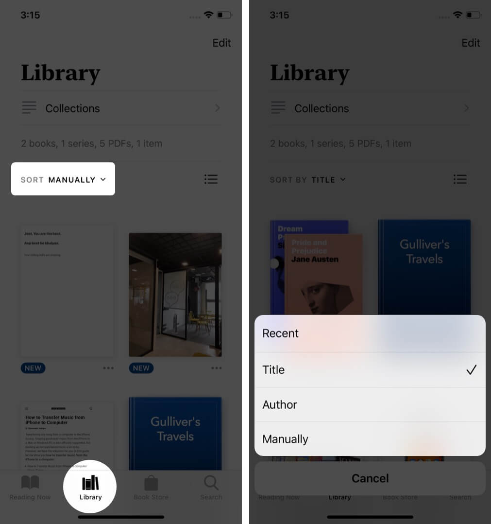 open books app select library tap on sort and select option to sort books on iphone