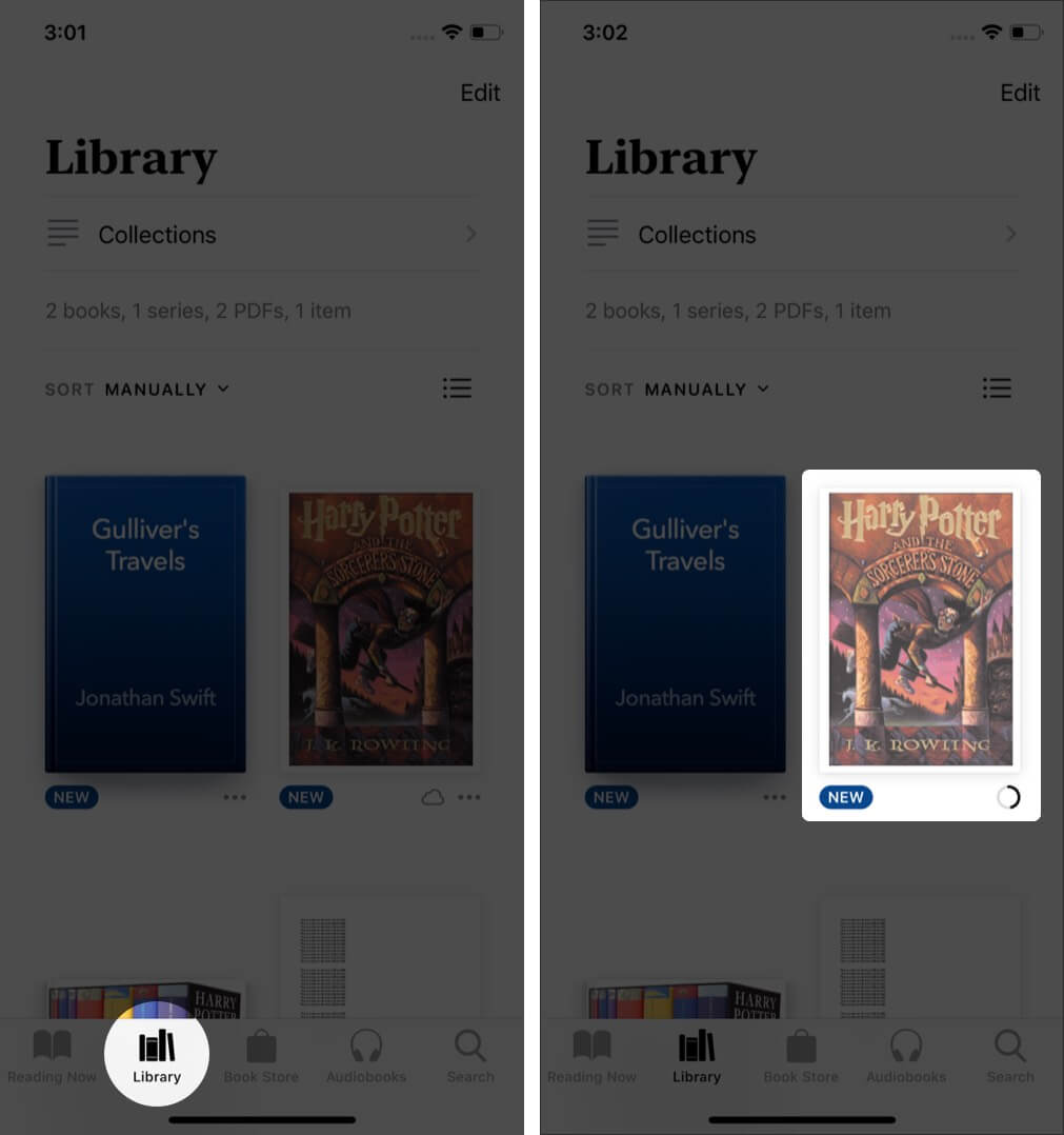 open books app tap on library and tap on book in books app