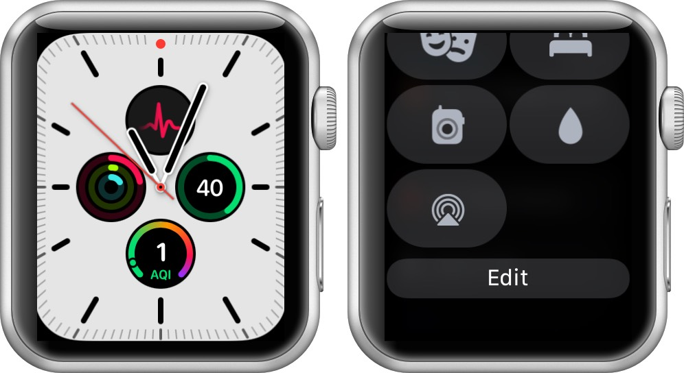 open control center and tap on edit in watchos 7 on apple watch