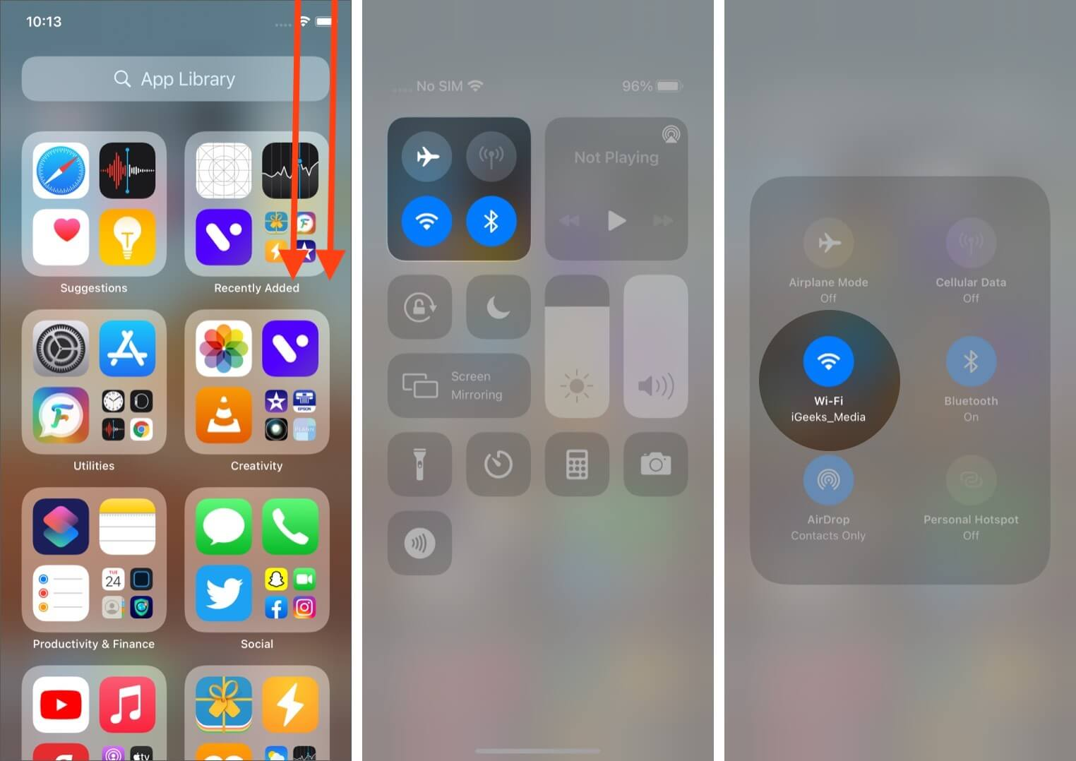 Open Control Center Long Press on Four-Icon Section and Then Long Press on WiFi Icon on iPhone
