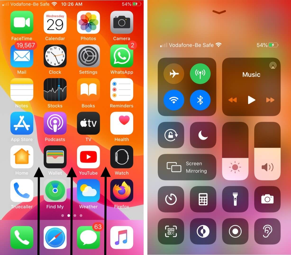 open control center on iphone with touch id