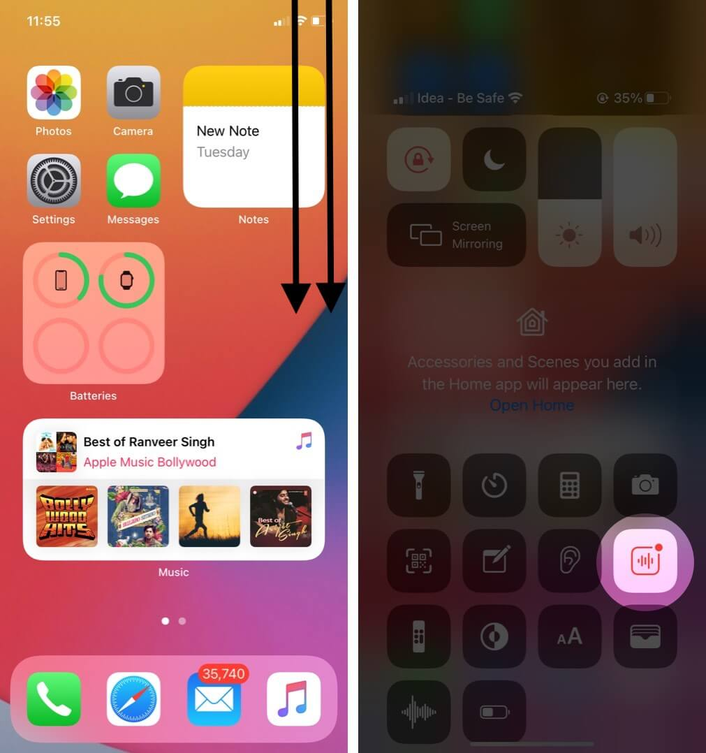 open control center to view sound recognition