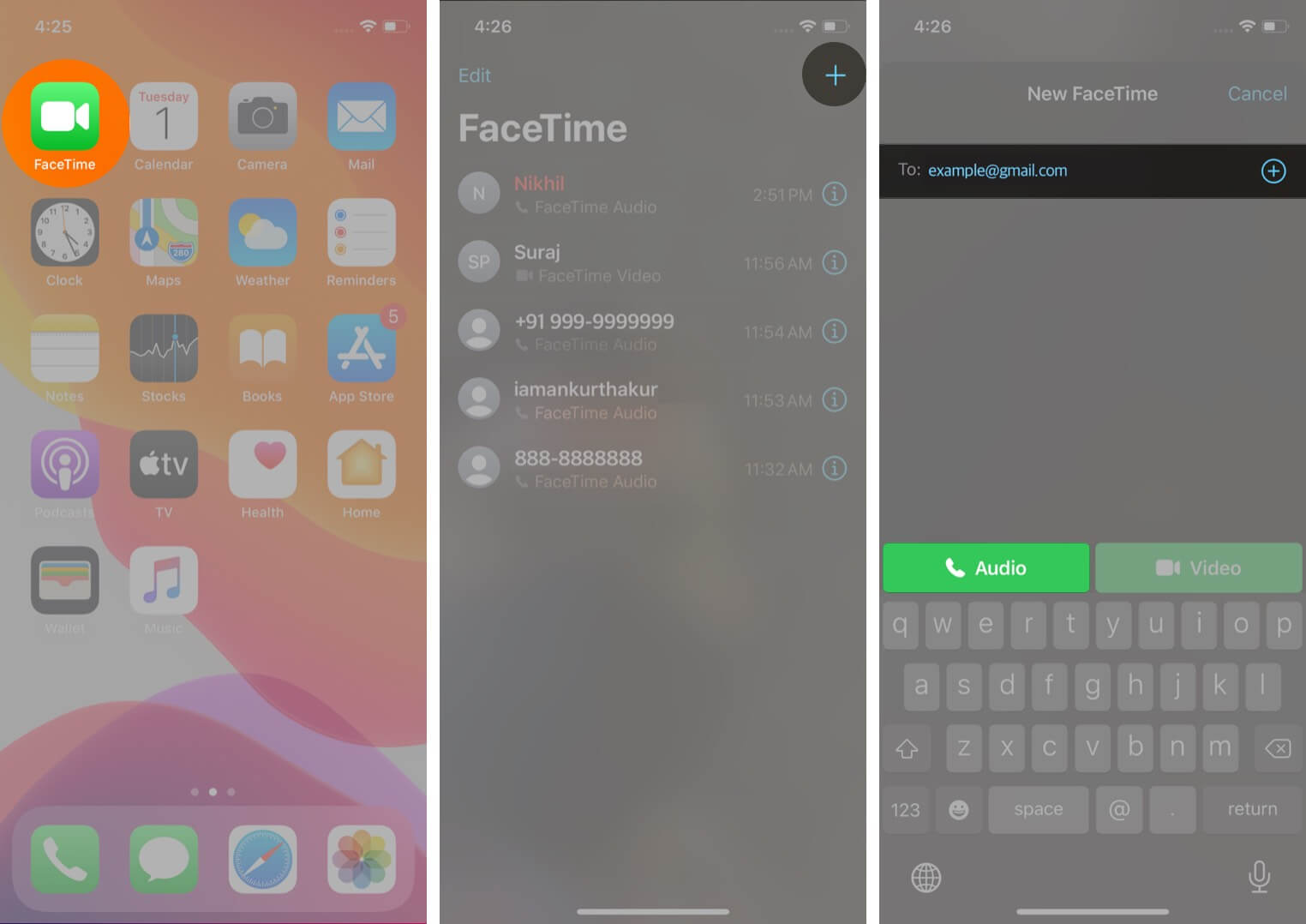 open facetime tap on plus and add contact to make facetime audio call on iphone