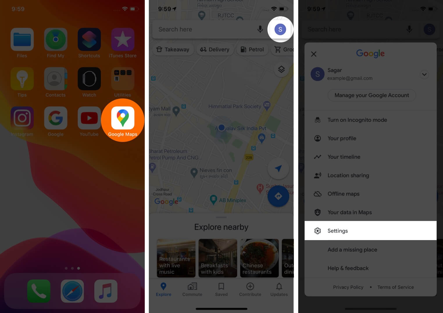 open google maps tap on profile and then tap on settings on iphone