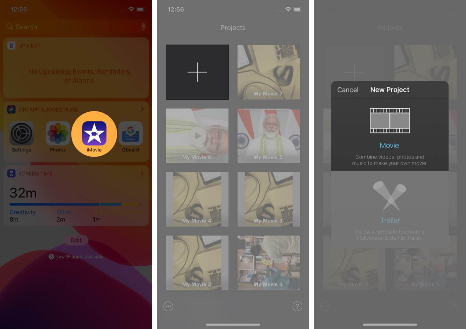 open imovie app tap plus and tap on movie on iphone