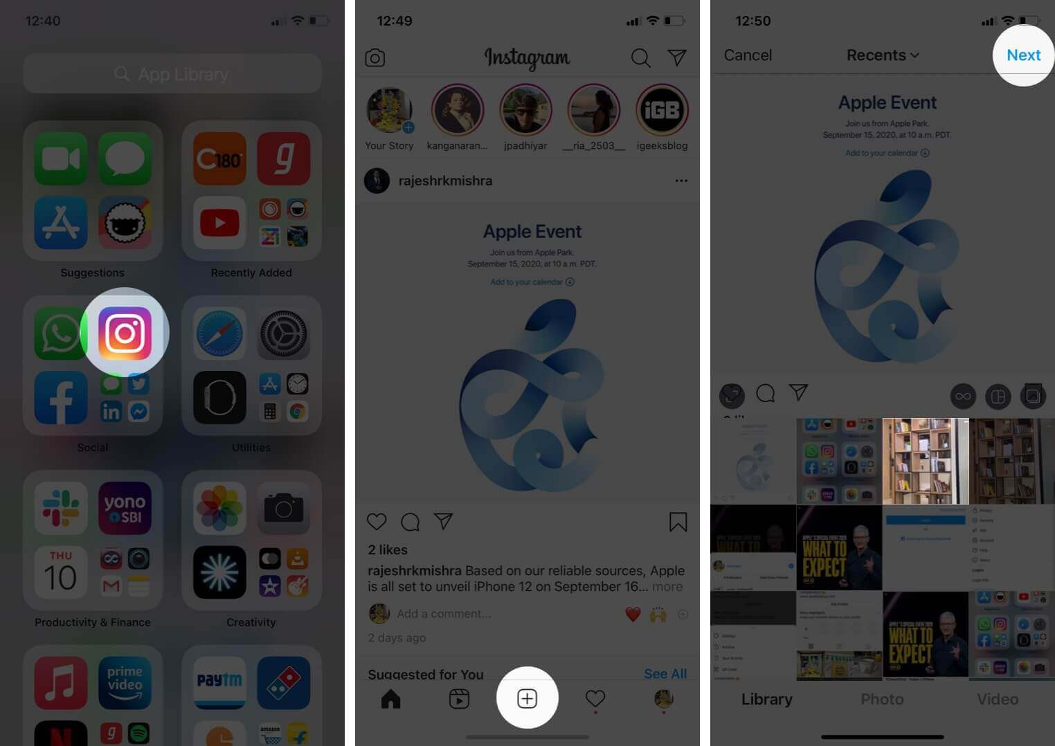 open instagram app tap on plus select photo and tap on next on iphone