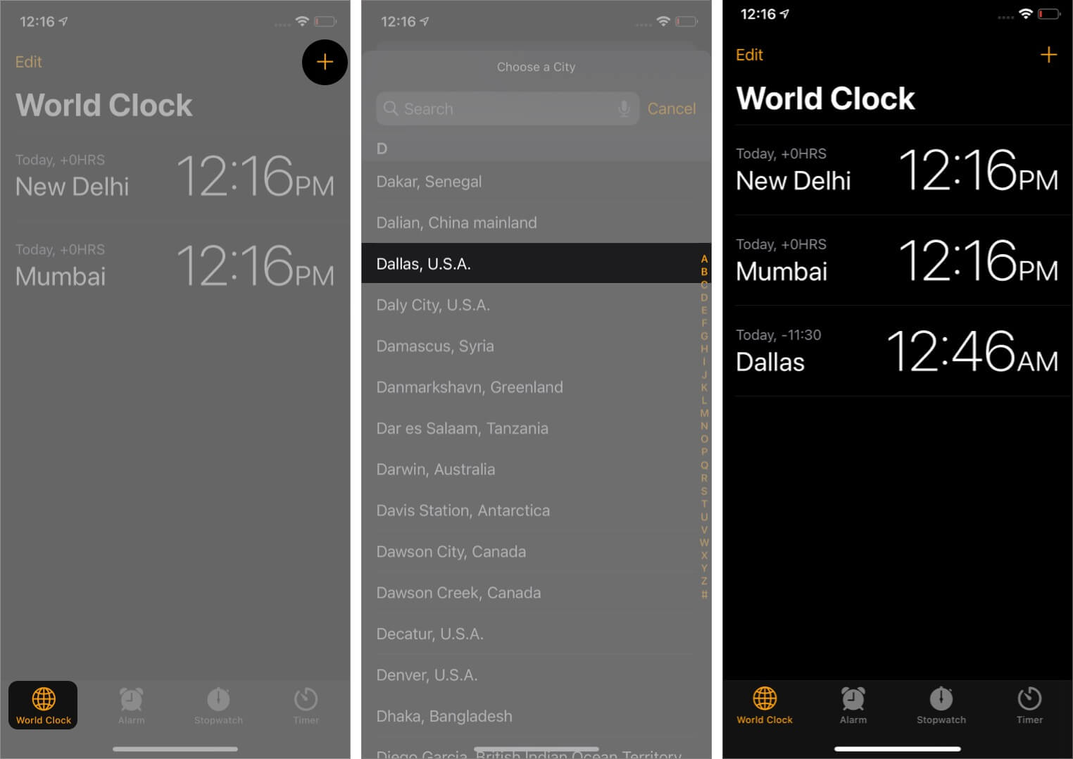 Open iPhone Clock App and Add Desired City to World Clock