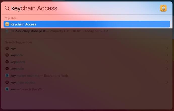 Open Keychain Access Using Spotlight Search on Mac