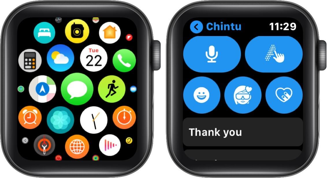 open messages app and tap on memoji button on apple watch