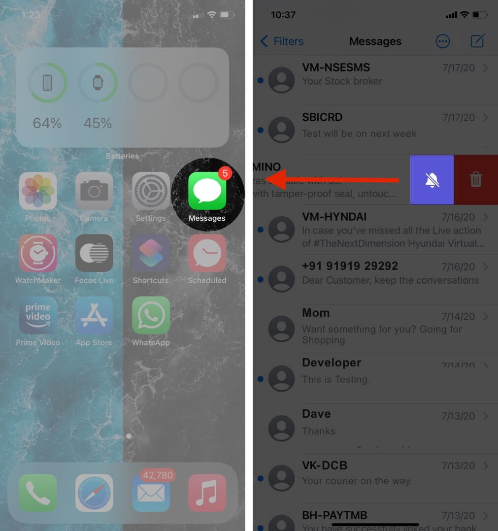 open messages app swipe conversation and tap on hide alerts on iphone