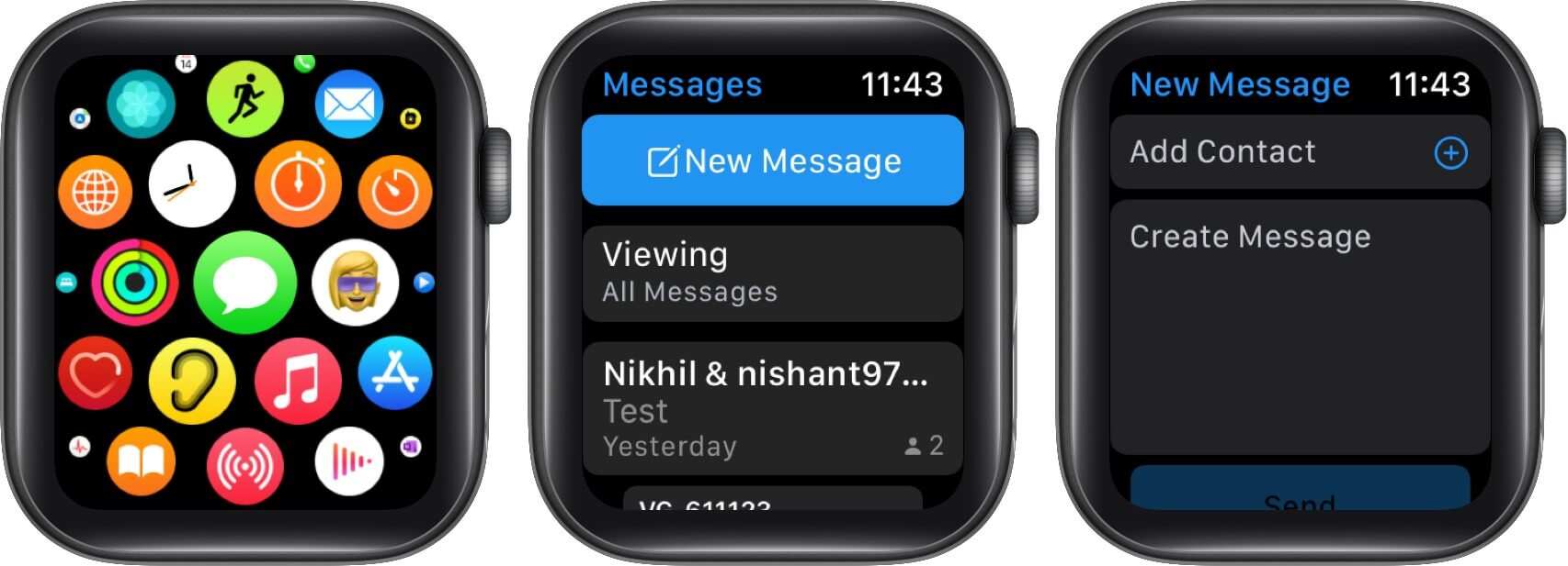 Open Messages App Tap on New Message and Then Tap on Create Message on Apple Watch