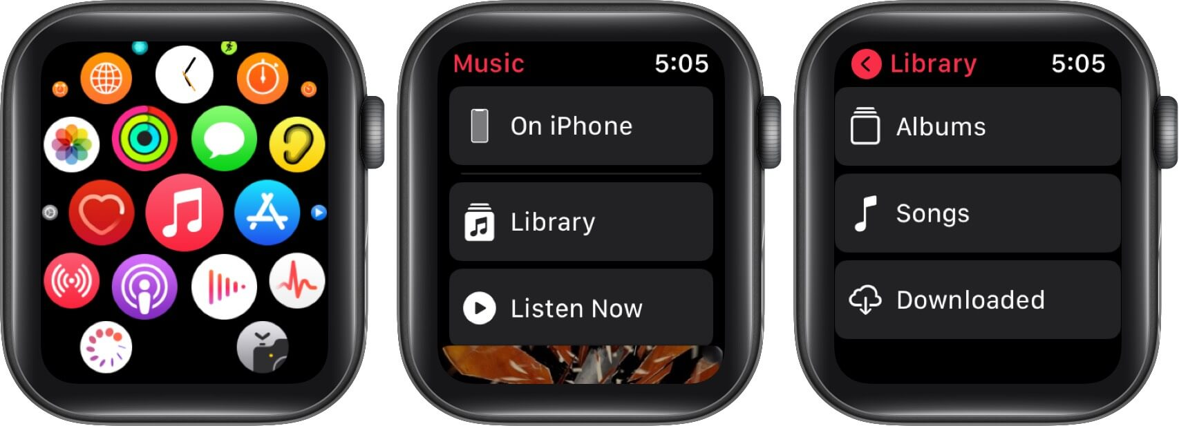 tap on music app in my watch tap then swipe left on item and tap on delete in watch app on iphone