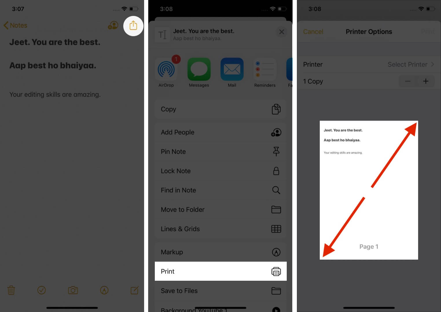 open note tap on share and tap on print on iphone
