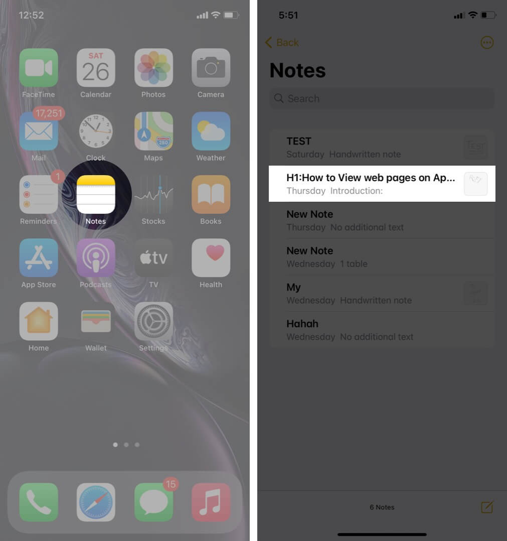 Open Notes App and Tap on Note on iPhone