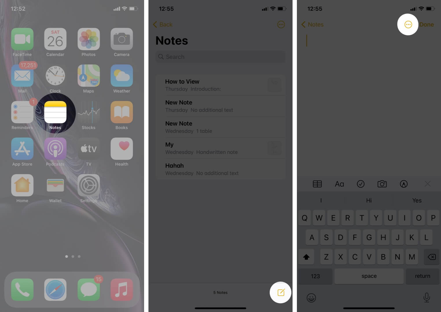 open notes app tap on create note and then tap on three dots icon on iphone