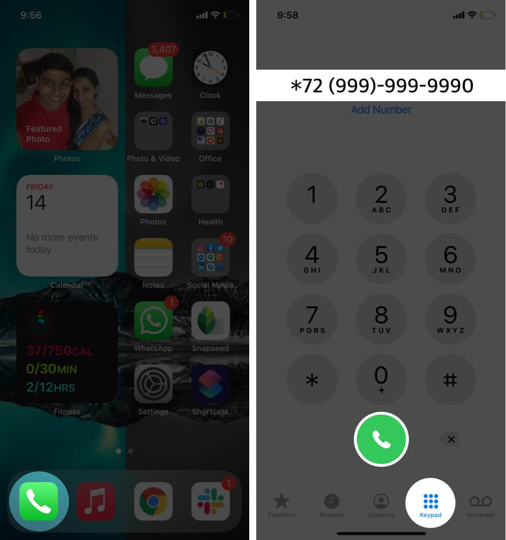open phone app tap on keypad type number and tap on dial on iphone
