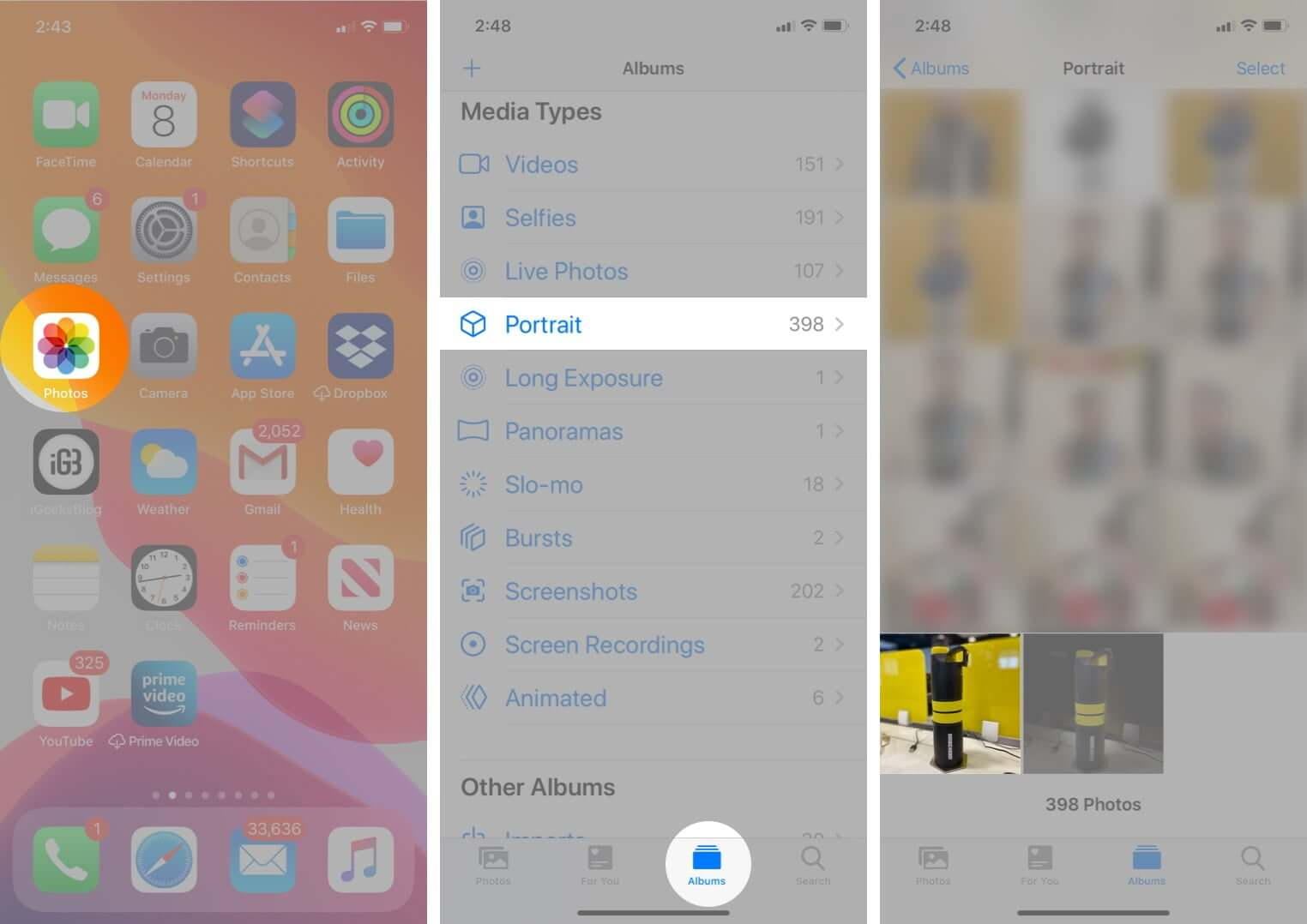 open photos app select portrait from media types and tap on photo