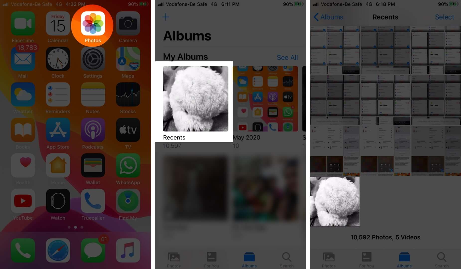 open photos app tap on album and then tap on edited photo