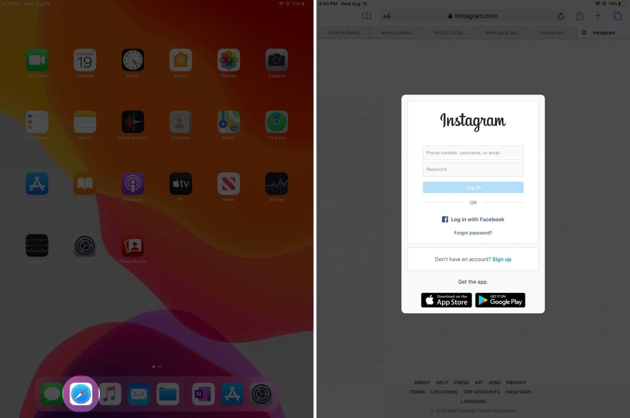 open safari app and login to instagram on ipad