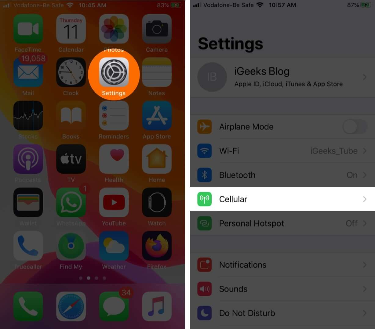 open settings and tap cellular on iphone