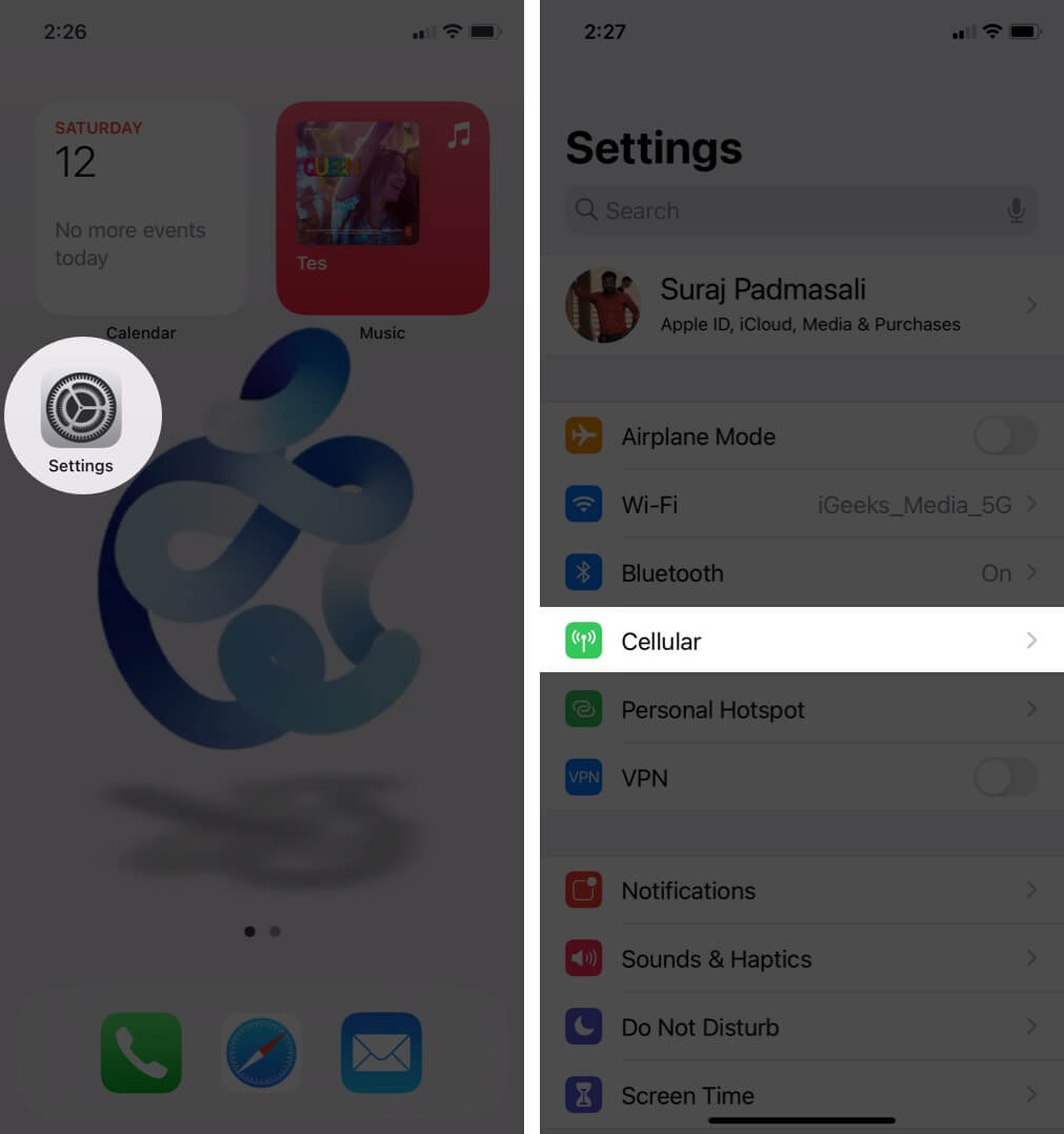 open settings and tap on cellular on iphone